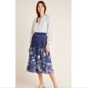 Anthropologie Haven Pleated Knit Midi Skirt Medium